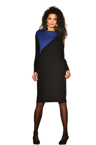Spliced Front Merino Shift Dress - Black/Prussian