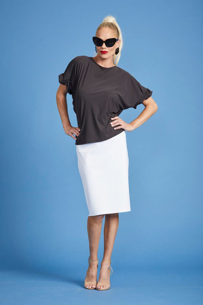 Ruched Sleeve Side Tuck Top - Black - Paula Ryan