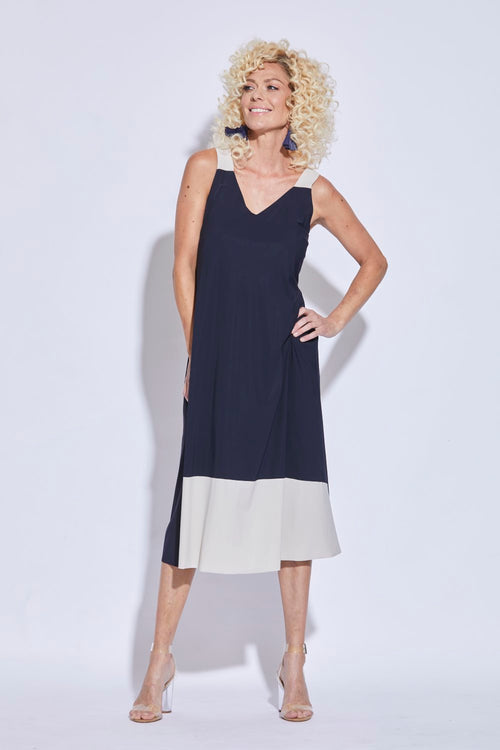 Gathered Back Contrast Straps Dress - Paula Ryan