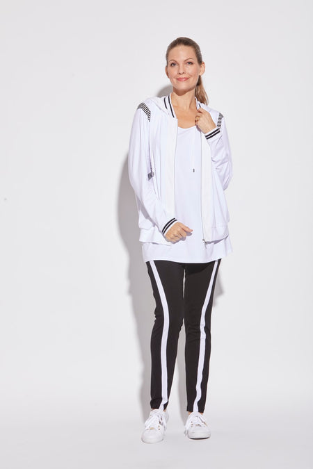 Cable & Rib Spliced Sweater - White