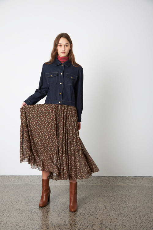 Sylvester Dimity Pleat Skirt - Olive