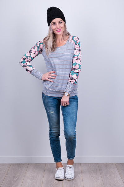 Argentina Top - Green Floral Sleeve - White Chalk