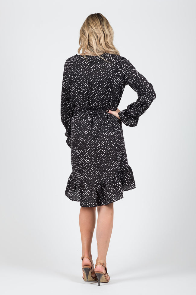 Madison Dress - Black Spot - White Chalk