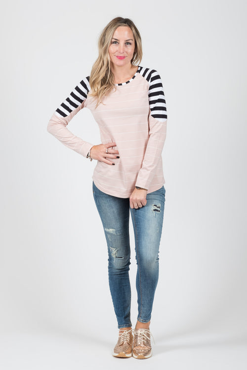 Bailey Top - Blush Stripe - White Chalk