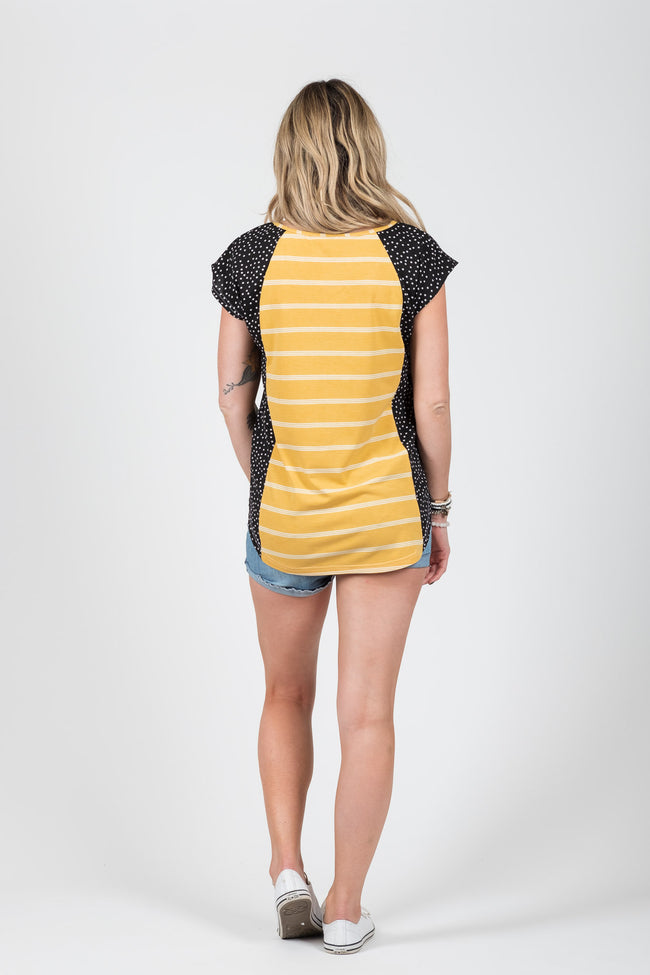 Wallace Top Mustard Stripe - White Chalk