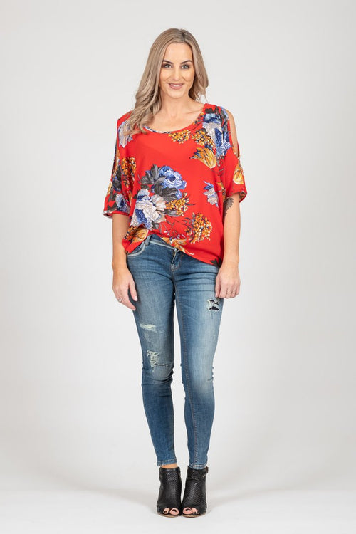 White Chalk Powder Top - Red Floral