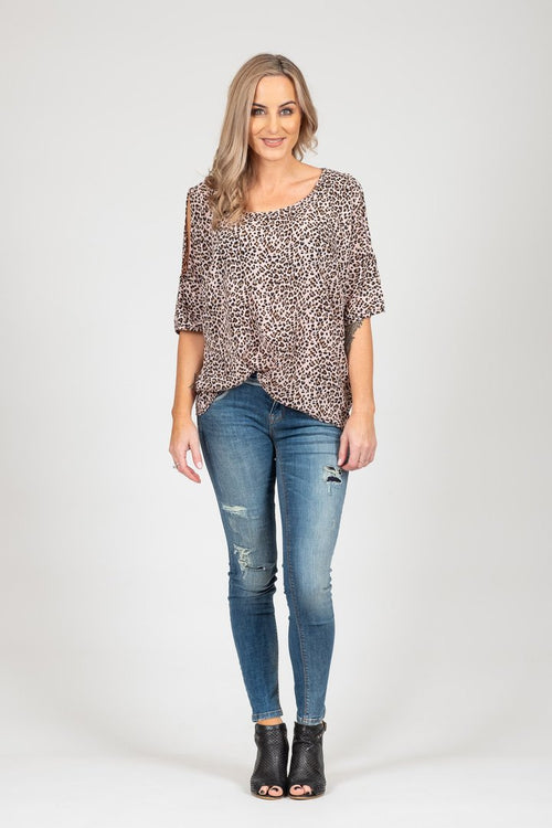 White Chalk Powder Top - Animal Print