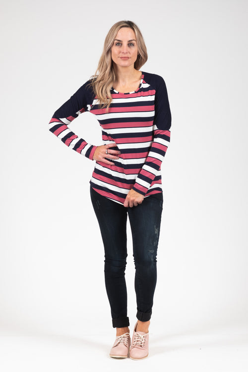 Bailey Top - Rose Stripe