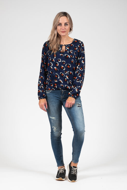 White Chalk - Katya Top - Navy Animal