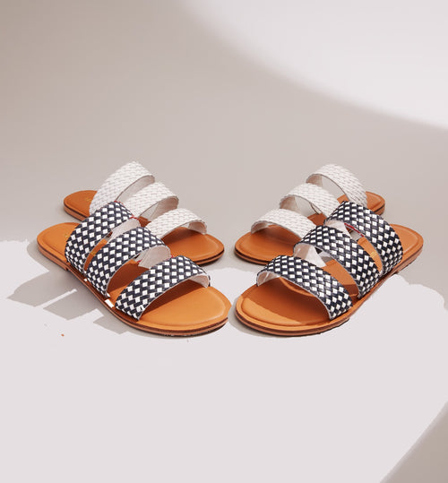 Three Strap Woven Slide