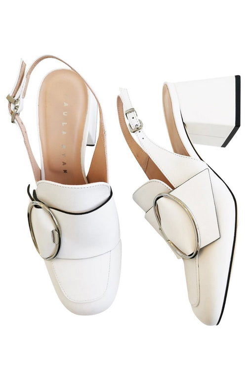 Mary Quant Sling Back Heel - White