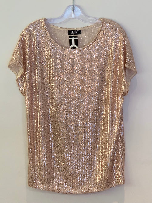Toby Oasis Tee - Rose Gold Sequin