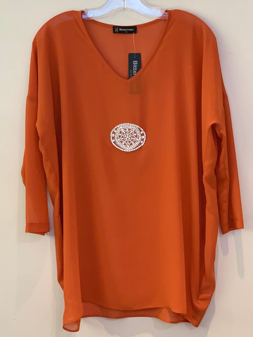 Bittermoon Diamante Top - Orange