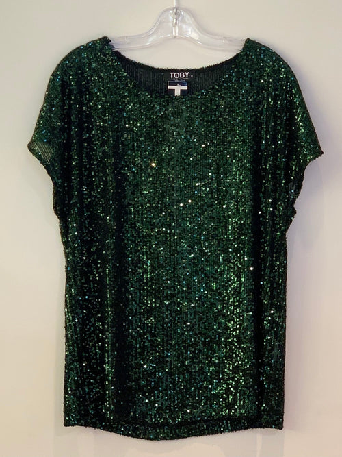 Toby Oasis Tee - Green Sequin