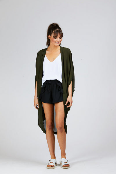 Plain Kimono Khaki Long - Shine Fashion