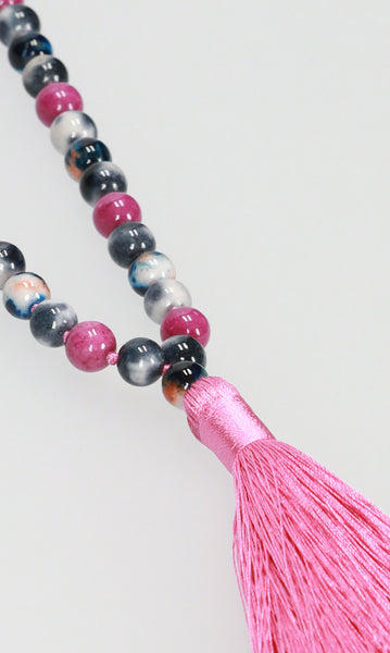 Tassel Necklace - Red/Purple