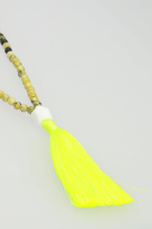Tassel Necklace - Wood/Yellow