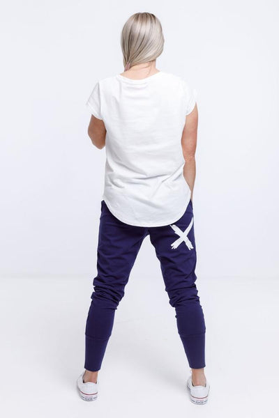 Home Lee Apartment Pants - Navy / White X