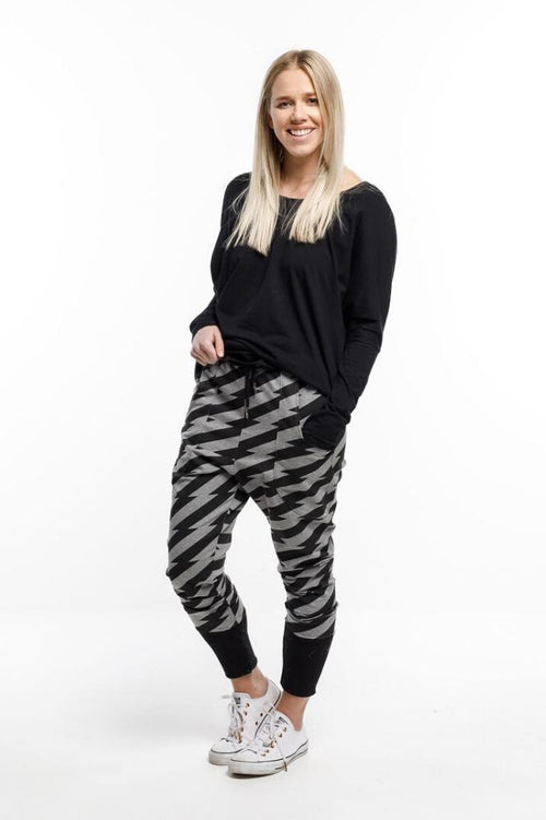 Home Lee Relaxer Pants - Lightning with Black Cuffs