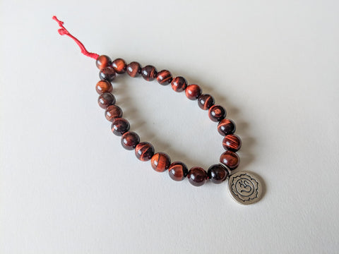 Tiger's Eye Lotus Om Wrist Mala