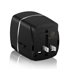 BONAZZA Universal Plug Adapter universally compatible in over 150 countries. Fits electrical outlets in most commonly visited countries including France, Europe, USA, UK, Canada, Brazil, Argentina, Ireland, Italy, Israel, Turkey, Greece, Croatia, Australia, New Zealand, Philippines, Fiji, Korea, Hong Kong, China, Vietnam, Mongolia, Indonesia, Middle East, Ghana, and Botswana etc.