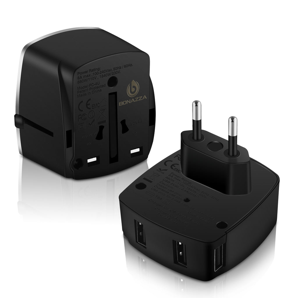 9af9540115fdf BONAZZA Universal International Travel Adapter Kit with 4Amps 4 USB Ports -  UK, US, AU, Europe All in One Plug Adapter - Over 150 Countries & USB ...