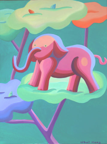 pink elephant, counterreality painting