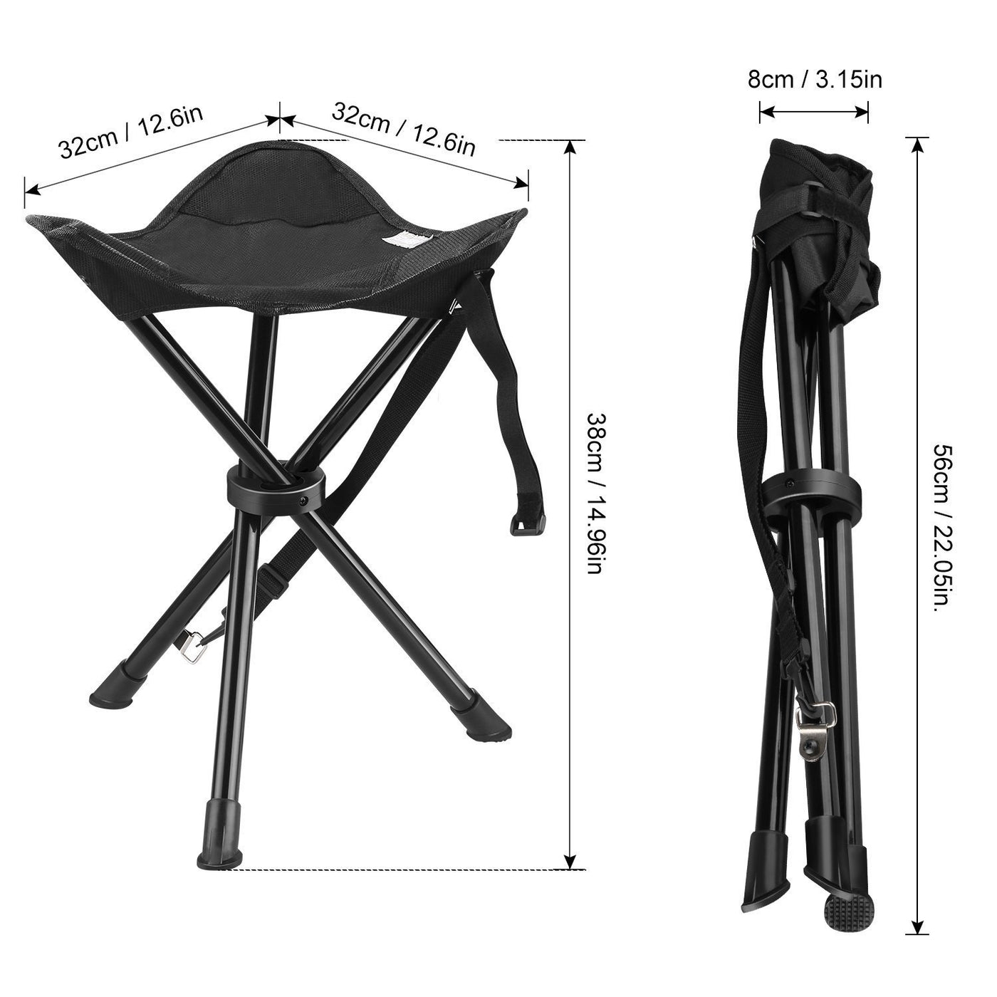 Portable Tripod Stool Folding Chair Enkeeo