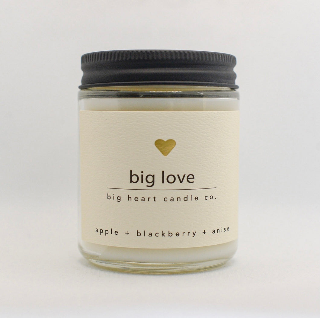 big love (apple, blackberry, anise) scented coconut wax candle