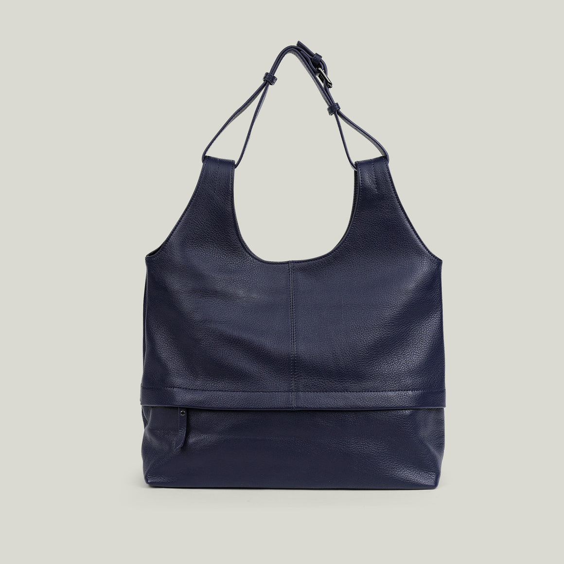 Leather Hobo Bag, Sober Simplicity navy blue - Dminimis