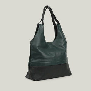 Leather Hobo Bag, Sober Simplicity green/black