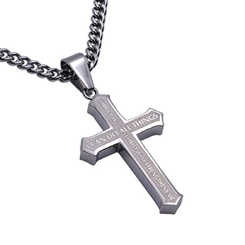 "Stainless Steel Christian Men's Inlay Cross Necklace, Philippians 4:13 CHRIST MY STRENGTH 24"" Curb Chain - DHS Deals"