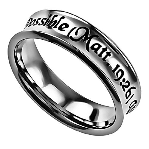 With God All Things Are Possible Truth Band Silver Stainless Steel Small Cut With Verse Matthew 19:26 - DHS Deals