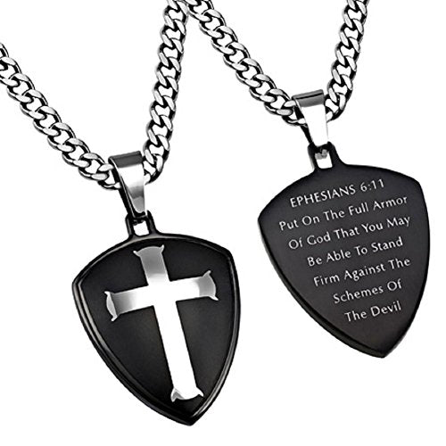 "STAINLESS STEEL Black Shield Cross ""ARMOR OF GOD"" On 24"" Upgrade Curb Chain - DHS Deals"