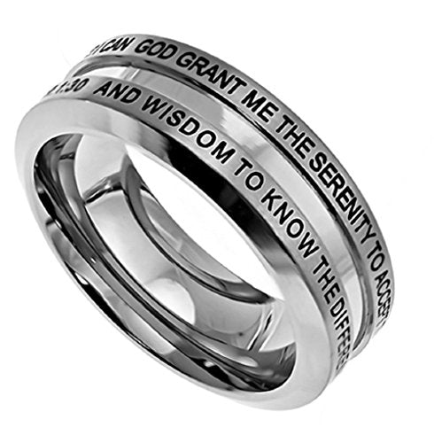"STAINLESS STEEL Industrial Band ""GOD GRANT ME THE SERENITY..."" with Comfort Fit - DHS Deals"