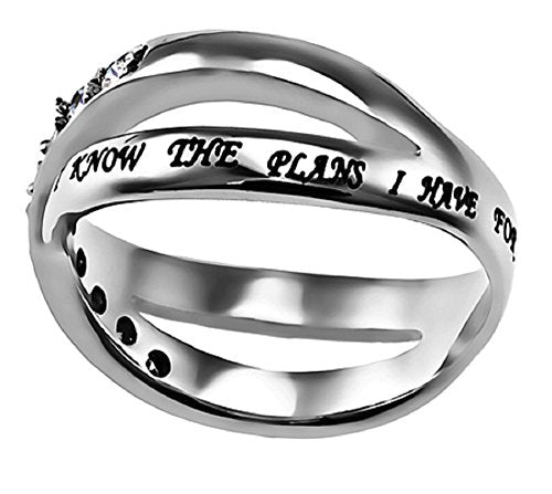 I Know The Plans Radiance Ring Silver Stainless Steel With Verse Jer. 29:11 - DHS Deals