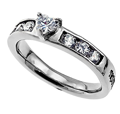 Princess Solitaire Ring Trust Stainless Steel With Heart CZ Stone - DHS Deals