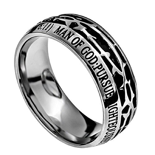 Man Of God Crown of Thorns Stainless Steel Silver & Black Ring with Verse (1 Tim. 6:11) - DHS Deals