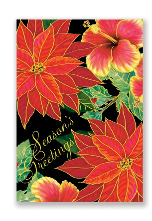 Boxed Christmas Cards Supreme FESTIVE HIBISCUS - DHS Deals