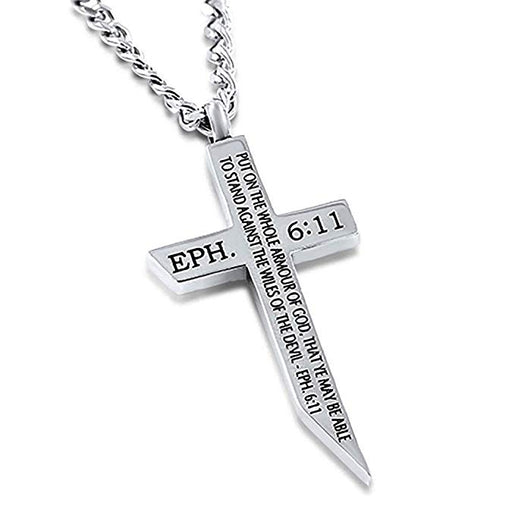Spirit & Truth Polished Stainless Steel Angle Cross Armour of God Ephesians 6:11 with Upgrade Curb Chain - DHS Deals