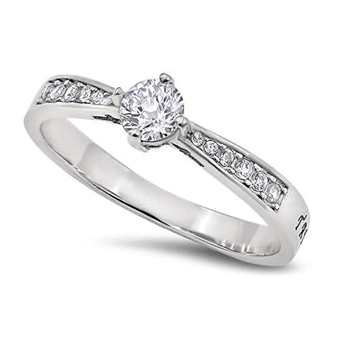 True Love Waits Message on a Stunning Majesty Ring High Polish Stainless Steel Purity Ring - DHS Deals