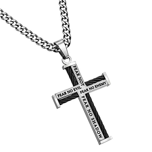 Stainless Steel Cable Cross Necklace for Men, Bible Verse Isaiah 41:10, Psalm 23 FEAR NO EVIL, Curb Chain - DHS Deals