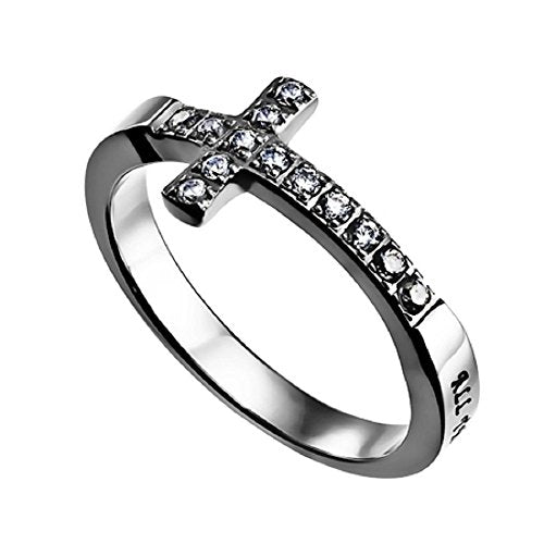 Sideways Cross Ring Christ My Strength Philippians 4:13 - DHS Deals