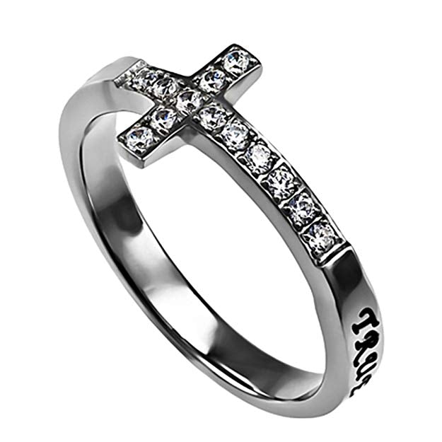 True Love Waits Ring Sideways Cross Purity, Christian Chastity Ceremony, Stainless Steel - DHS Deals