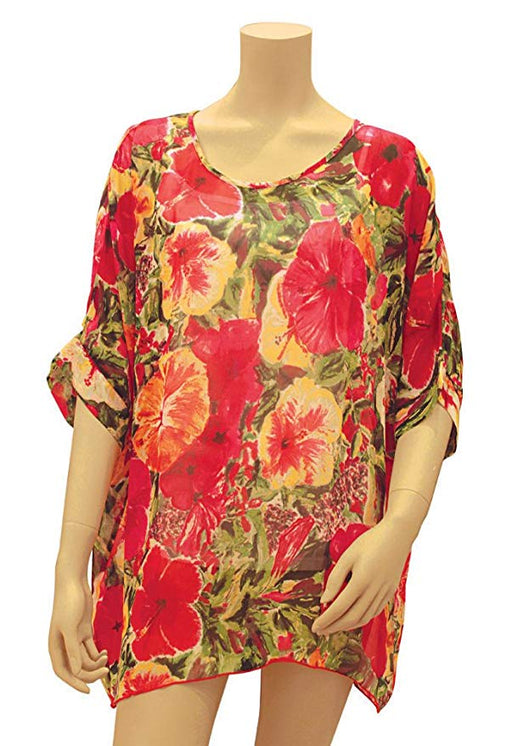 Kai Hibiscus Impressions Scoop Neck Cover-up for Beach Or at Night
