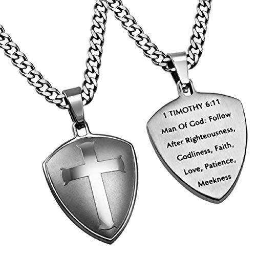 Spirit & Truth Cross Shield Man of God Necklace, Stainless Steel, with Stainless Steel Chain 1 Timothy 6:11 - DHS Deals