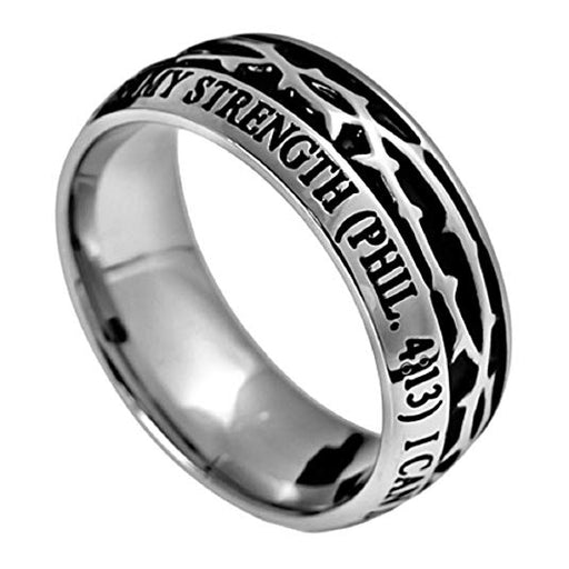 Christ My Strength Crown Of Thorns Ring Stainless Steel Silver With Scripture Phil. 4:13 - DHS Deals