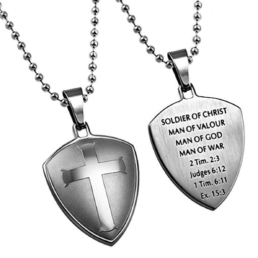 Soldier of Christ Man Of God Necklace, Stainless Steel, Cross Shield with Chain - DHS Deals