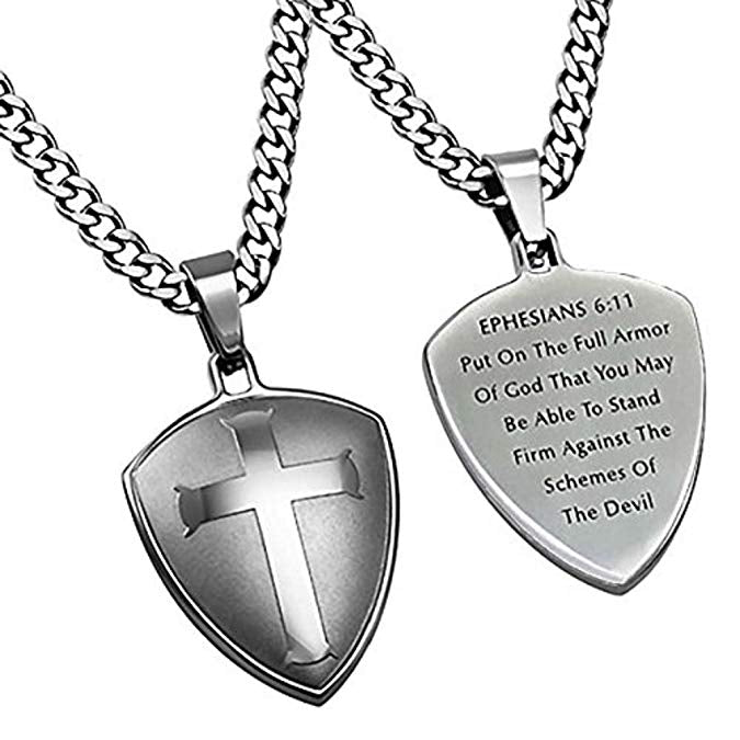 Spirit & Truth Stainless Steel Cross Shield Necklace Armor of God Stainless Steel Chain Ephesians 6:11 - DHS Deals