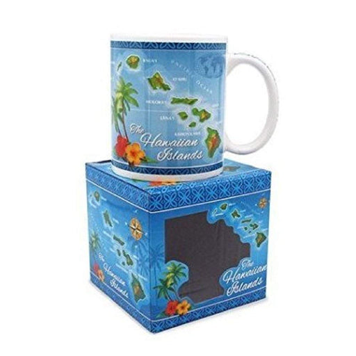10 oz. Island Treasures Mug, Hawaiian Map - Blue - DHS Deals